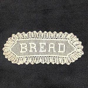 "Antique Lace BREAD Handmade Off-white Crochet Lace 15"""